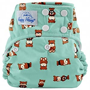 Happy Heiny's True Size One Size Snap Closure Cloth Diaper + 2 Microfiber Inserts (Peace Bears)