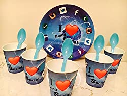 Birthday Party Disposable Pack - I Love Being Social Design (Pack of 10pc plates,10pc glasses & 10 pc Spoons)