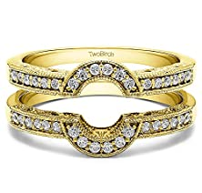 buy 1/6 Ct. Charles Colvard Created Moissanite Oval Shaped Halo Style Ring Guard In 14K Yellow Gold (0.15 Ct. Twt.)