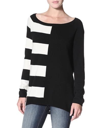 Shae Women's Cashmere Stripe Colorblock Sweater  - Warm White/Black
