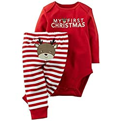 baby my first christmas 2 piece red bodysuit striped pant set