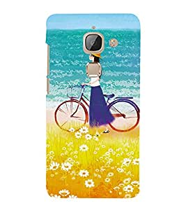 Girl on beach with Cycle 3D Hard Polycarbonate Designer Back Case Cover for LeEco Le 2s :: Letv 2S :: Letv 2