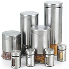 Cook N Home Stainless Steel Canister and Spice Jar Set 8-Piece