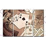 "BILD AUF LEINWAND 3 BILDER Poker Casino Royal Flush KEILRAHMENBILD 130cm Breite 80cm H�he Fix&Fertig auf Keilrahmen Bespannt! Made in Germany! ArtNr. C00187Nvon ""kunst-discounter"""