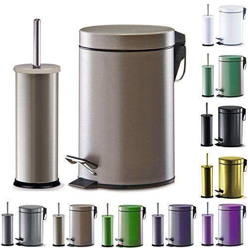 WOLTU-WC-Garnitur-Set-Treteimer-WC-Brste-Toilettenbrste-Toilettengarnitur-Kosmetikeimer-Bad-Beige-ME4707be
