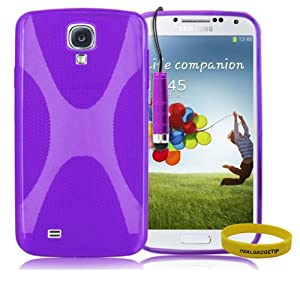 Dealgadgets X line TPU Case Flexible Slim Fit Back Case Cover for Samsung Galaxy SIV S4 i9500 with free gift from Dealgadgets (purple)