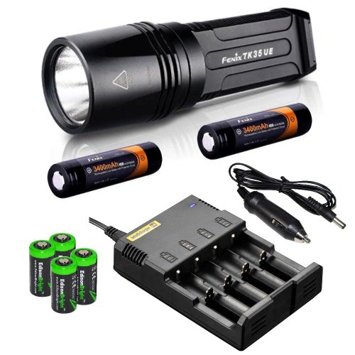 Fenix Tk35 Ultimate Edition (Tk35Ue) 1800 Lumen Led Tactical Flashlight With 2 X Fenix Arb-L2S 3400Mah 18650 Li-Ion Rechargeable Batteries, 4 X Edisonbright Cr123A Lithium Batteries, Nitecore I4 Smart Battery Charger, In-Car Charger Adapter, Holster & Lan