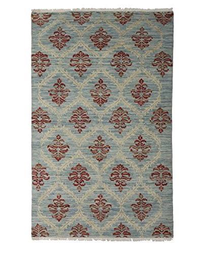 Darya Rugs Ikat Oriental Rug, Blue, 4′ x 6′ 4″