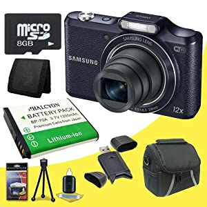 Samsung WB50F 16.2MP Smart WiFi &NFC Digital Camera (Black) + Carrying Case + BP-70A Replacement Lithium Ion Battery  + 8GB microSD Memory Card + SDHC Card USB Reader + Memory Card Wallet + Deluxe Starter Kit DavisMax Bundle