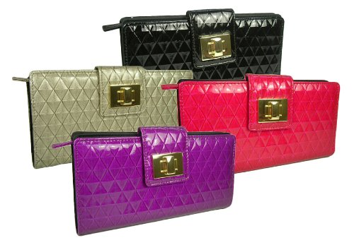 "Mundi ""Lock It Up"" Quilted Faux Leather Clutch Wallet in Choice of Colors"