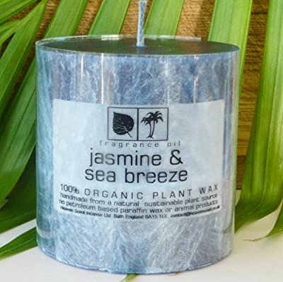 Heaven Scent Organic Scented Pillar Candle 50 Hours - Jasmine Sea Breeze by Heaven Scent