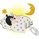 Wandlampe aus Holz - der kleine Maulwurf im Bett - Lampe mit Schalter für Kinder - Kinderzimmer Kinderlampe Wandleuchte mit Stecker / Nachtlicht / Schlummerlicht