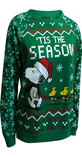 Peanuts Snoopy and Woodstock Ugly Holiday Sweatshirt for women (Medium)