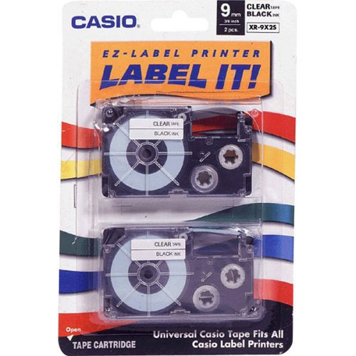 Casio 9mm Labelling Tape, Black on Clear, Double Pack (XR-9X2S) (Ez Pack compare prices)