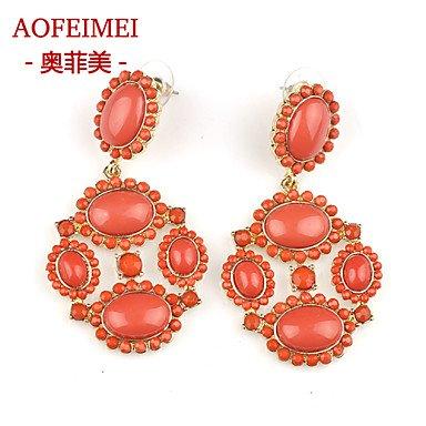 Damen Ohrring Legierung Stud Earrings-Orange günstig online kaufen