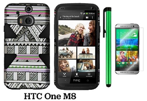 Htc One (M8) Dynamic Slim Hybrid Premium Pretty Design Protector Cover Case + Screen Protector Film + 1 Of New Assorted Color Metal Stylus Touch Screen Pen (Antique Aztec Tribal Plastic / Black Silicone)