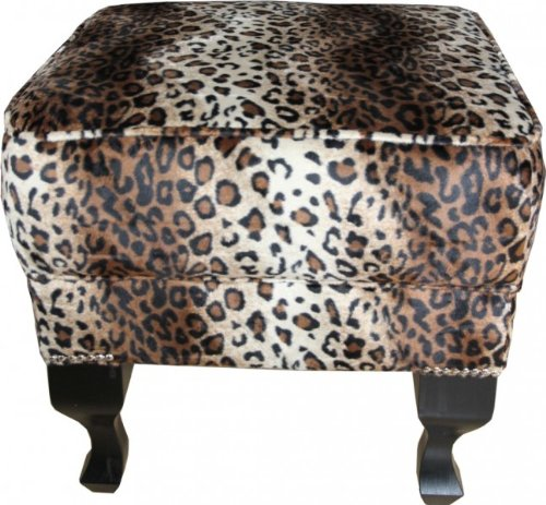 Casa Padrino Limited Edition Chesterfield Stool Leopard - Club Furniture