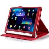 Lenovo Yoga Tab 3 10.1 ケース 【KuGi】 Lenovo Yoga tablet 3 10.1 専用カバー 超薄型 超軽量 スタンド機能付き 内蔵マグネット開閉式 高級PU レザー ( レッド )
