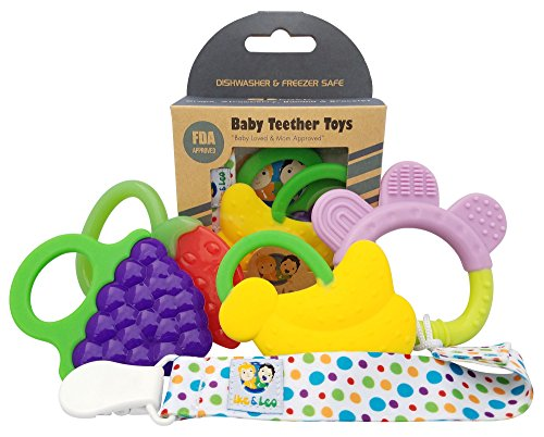buy Ike & Leo Teething Toys: Baby Infant and Toddler WITH Pacifier Clip / Teether Holder, Best for Sore Gums Pain Relief, Eco Friendly BPA Free & Freezer Safe, Set of 4 Silicone Teethers for sale