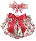 Stephan Baby Ruffled Diaper Cover and Curly Band Gift Set, Pink Roses, 6-12 Months