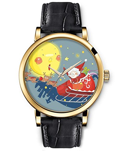Sprawl Classic Analog Round Face Genuine Black Leather Gold Watches Present For Women Fun Design --- Cartoon Santa Claus And Full Moon Watch front-996426