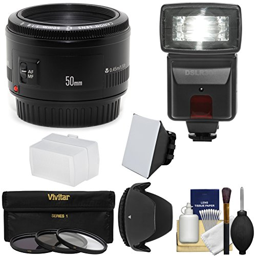 Canon Ef 50Mm F/1.8 Ii Lens With 3 Filters + Hood + Flash & 2 Diffusers Kit For Eos 6D, 70D, 5D Mark Ii Iii, Rebel T3, T3I, T4I, T5, T5I, Sl1 Camera