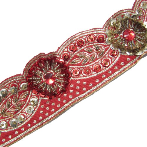 Bridal Red Hand Beaded Cut Style Sequin Stone Trim 1 Yd