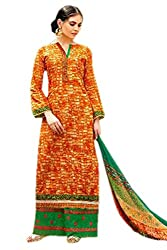 Orange and Green Printed Cambric Cotton Ready to Stitch Dress Material (With Discount and Sale Offer)
