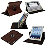 IGadgitz Brown 360° Rotating Genuine Leather Case Cover for Apple New iPad 3 & 2 (3rd & 2nd Generation) Wi-Fi 4G 16GB 32GB 64GB