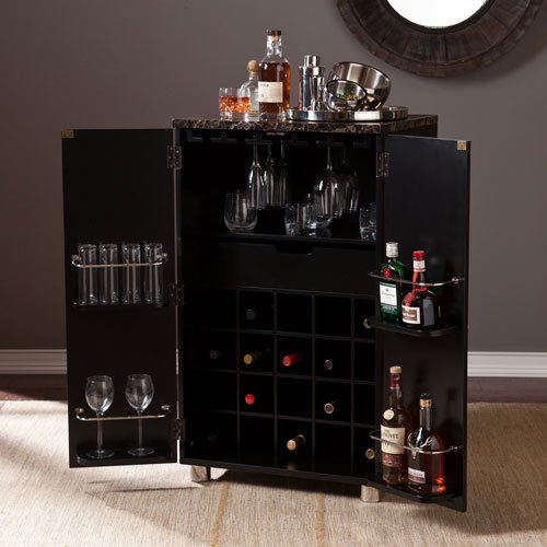Cape Town Contemporary Bar Cabinet in Black Finish
