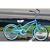 """J Bikes 20"""" Beach Cruiser Bicycle Jetta Girls Kids Children Bike Baby Blue"""