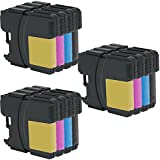 3 Set of 4 Inkfirst® Ink Cartridges LC61BK, LC61C, LC61M, LC61Y Compatible Remanufactured for Brother LC61 Black, Cyan, Magenta, Yellow DCP-165C DCP-385C DCP-395CN DCP-585CW DCP-J125 MFC-250C MFC-255CW MFC-290C MFC-295CN MFC-490CW MFC-495CW