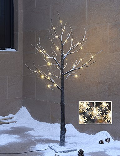 Lightshare™ New 4Ft 48L Led Snow Tree,+Free Gift:10L Led Snow Flake Decoration Light, Home/Festival/Party/Christmas,Indoor And Outdoor Use,Warm White