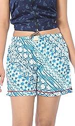 Abony Women's Light Blue Cotton Short (Size:L)