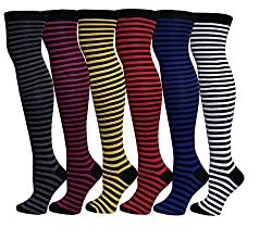 6 Pairs Women's Colorful Stripes Ann Design Over the Knee High Socks 9-11