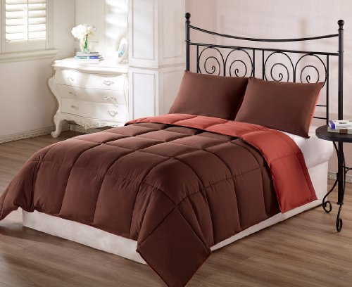 Chezmoi Collection 3-Piece Super Soft Goose Down Alternative Reversible Comforter Set, Queen/Full, Rust Orange/Brown