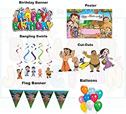 Themez Only BALLOON JUNCTION CHOTA BHEEM THEME Birthday Party Decoration Pack - Birthday Banner , Birthday POster , Cut-outs , Danglers