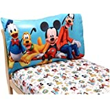 Mickey Mouse Toddler Bedding 2-Piece Toddler Sheet Set (Pillowcase and Fitted Sheet) - Disney Mickey Mouse Playground Pals Theme