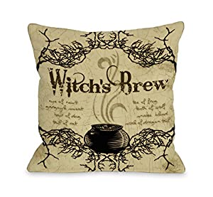 Comwitch Home Decor : Bentin Home Decor 11516PL16C Witchs Brew Pillow Cover, Tan/Multi, 16 ...