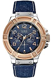 GUESS U0040G6 Men's Denim and Rose-Gold Tone Rigor Standout Casual Sport Watch