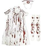 Madrugadaゾンビナースハロウィンコスチューム(制服+ナースキャップ)&血まみれニーハイソックス2点セットレディースフリーサイズS456
