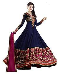 Salwarsaloon Women's Faux Georgette Dress Material (blue-sathya _Blue)