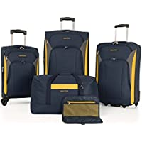 Nautica Open Seas 5 Piece Spinner Luggage Set - Navy/Yellow