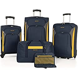 Nautica Open Seas 5 Piece Spinner Luggage Set (Navy/Yellow) + $20 Macys Money