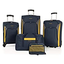 Nautica Open Seas 5 Piece Luggage-Set, Navy/yellow