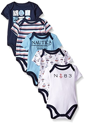 Nautica Baby Boys' Newborn Five-Pack Bodysuits, Multi/Blue, 0-3 Months