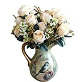 Soledi Beautiful Earl Rose Bouquet Charming Delightful Silk Flower Arrangement Large Palace Rose Artificial Flowers Hotel Wedding Home Decorative Flower Pink (Vase not included)