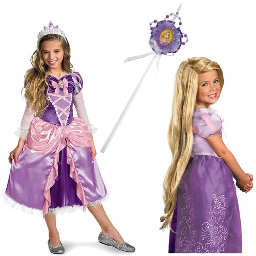 Disney Tangled/Rapunzel Deluxe Costume Small (4/6x) Including Wand and Wig