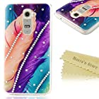 G2 Case, LG Optimus G2 Case - Mavis's Diary Colorful Feather Bling Crystal Sparkle Rhinestone Case Hard Cover for LG Optimus G2 LG D800 LG D801 LG D802 (AT&T / T-Mobile / International Version) with Soft Clean Cloth (One Case)