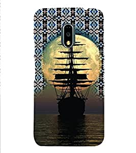 PrintVisa Travel Ship Sunset 3D Hard Polycarbonate Designer Back Case Cover for Motorola Moto G4 PLAY